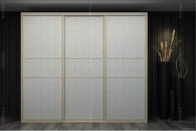 皮纹移门衣柜(加拿大枫木)方格秀白3D板