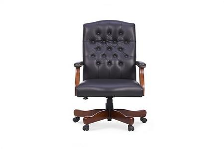 黑色包扣皮艺办公椅