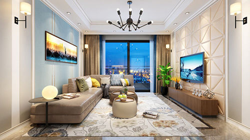 延续欧式客厅豪华的风格     典雅的花卉地毯     与米色的艺术皮